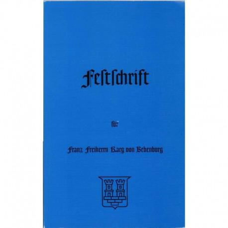 Duda, Gunther: Festschrift für Franz Karg von Bebenburg