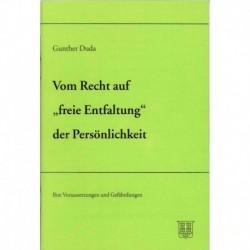 Duda, Gunther: Vom Recht auf freie Entfaltung der Persönlichkeit